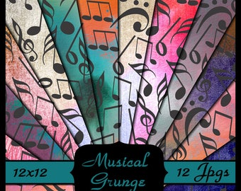 Musical Notes Grunge Paper, Digital Paper Pack, Music Paper Pack, Scrapbooking Paper, Gift Wrap Paper, Music Background, Dollhouse Wallpaper
