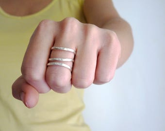 Triple rings - Sterling Silver Contemporary Ring in a Hammered Desing