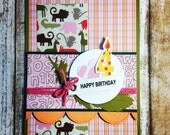 Sparkle Zoo Birthday Card, Wild Animals, Plaid, Feather, 4th Birthday, Fourth, Candle, Scrapbook Papers, Girl, Daughter, Toddler, Child