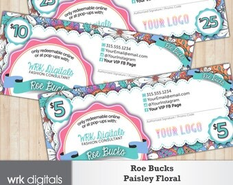 Cash Coupons, Roe Bucks, Gift Certificate, Fashion Consultant, Paisley Floral Design, Direct Sales, PRINTABLE