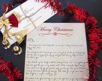 Christmas Letter from Santa - Handwritten and Personalised in Black Ink with 3D Wax Seal on Parchment Paper