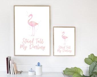 flamingo quote, flamingo poster, flamingo prints, home decor, tropical wall art, flamingo art, nursery decor, flamingos, pink