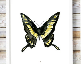 Yellow and black Butterfly watercolor- butterfly painting - butterfly Art Print - black ink - insect illustration - butterfly drawing