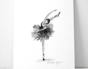 Ballet Art - Ballet watercolor - print - black white gray decor - ballerina art - dancer illustration - grey wallart  - dancer watercolor