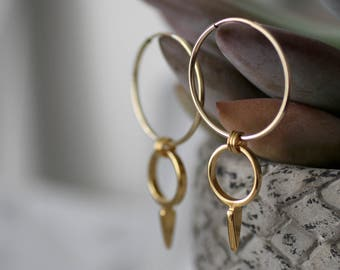 Dangle earrings gold, gold hoop earrings large, double hoop earrings, double hoops, drop hoop earrings, boho hoop earrings, mother gift