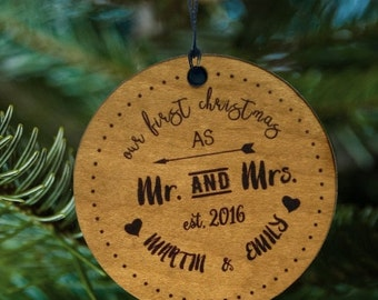 Newly Wed Ornament, Mr and Mrs Gift, Just Married, Arrows and Heart