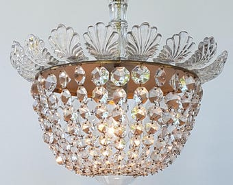 An elegant crystal beads French chandelier, fixture