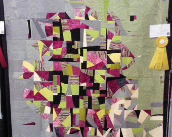 Improvisational Patchwork Quilt   'Curiosity '  Ribbon Winner