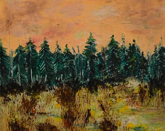Highway 7 Ontario: Beeswax, dry pigments oil painting on a gallery style wooden panel ready for display
