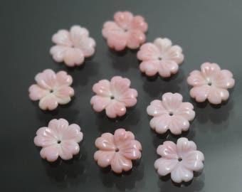 10pcs Natural MOP Shell Flower beads,Pink Shell Flower beads,6mm 8mm 10mm 12mm 15mm MOP Shell Flower beads