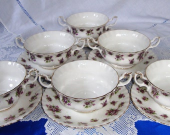Royal Albert Sweet Violets Cream Soup Bowls And Saucers