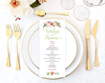 Printable Wedding Menu, Wedding Menu, Floral Wedding Menu, Wedding Menu Cards, Rustic Wedding Menu, Bohemian Wedding Menu, Boho Chic RWDS