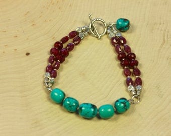 Turquoise and Ruby Bracelet