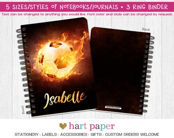 Soccer Ball Flames Fire Spiral Coil Bound Notebook Journal Diary 3 Ring Binder Gift Name Back to School Supplies Birthday Girl Boy Custom