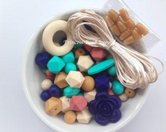 100 BULK Silicone Teething Beads, Navy, Turquoise, Maroon, Beige & Mustard Silicone Beads, Bulk Silicone Beads Wholesale