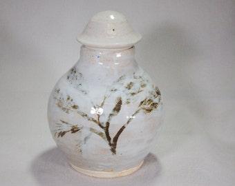 Bluish White Stoneware Ceramic Ginger Jar with Iron Oxide Underglaze Leaf Decoration