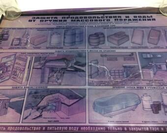 vintage soviet russian ussr poster slide transparency military civil defense