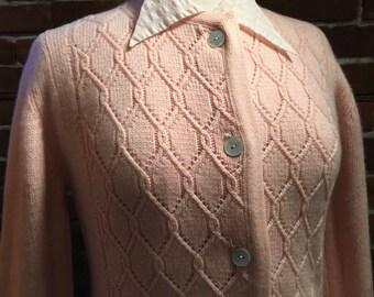 50's Pink Cashmere Cotton Candy Argyle Knit Cardigan 1950's 60's ~ SALE!