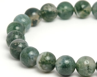8mm Moss Agate Beaded Bracelet