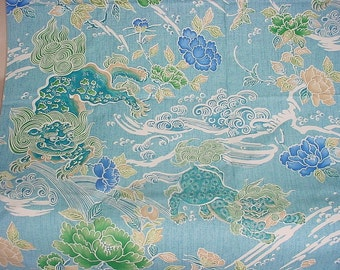 BRUNSCHWIG & FILS Chinoiserie SHISHI Dog Toile Fabric 10 Yards Turquoise