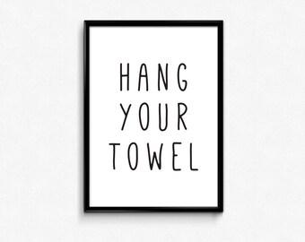 Bathroom Quotes Wall Decor, Bathroom Signs, Hang Your Towel, Bathroom Printables, Bathroom Prints, Typography Wall Art, Bathroom Rules