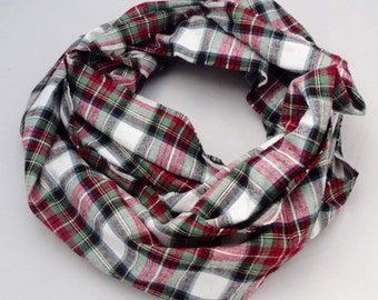 Infinity Scarf, red, green and white plaid flannel, gift for her, accessory