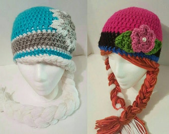 Frozen Hat- Elsa Hat- Anna Hat- Crochet Hat- Costumes or Christmas gifts
