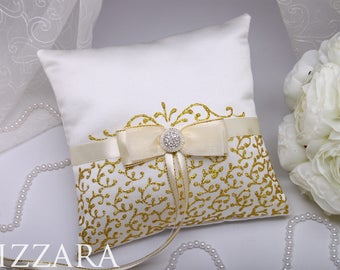 Ring Bearer Pillow Hand PAINTED Gold Wedding Ring Pillows Ring Bearer Pillows set Wedding Pillow ideas & Gold ring pillow   Etsy pillowsntoast.com