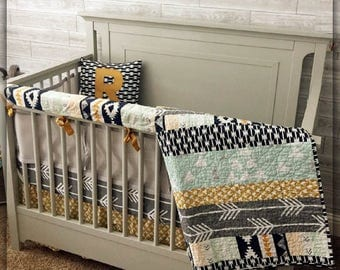 Crib Bedding Set | Nursery Bedding Woodland Baby Bedding Aztec Tribal Nursery Navy Gold Bumper Sheet Skirt Pillow Quilt Boy Girl Neutral