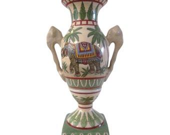 Royal Elephant & Palm Tree Handled Vase