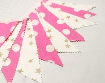 Pink Gold Bunting,Fabric Bunting Flags, Baby Garland , Pennant Banner, Girl's Nursery, Baby Shower, Nursery Decor