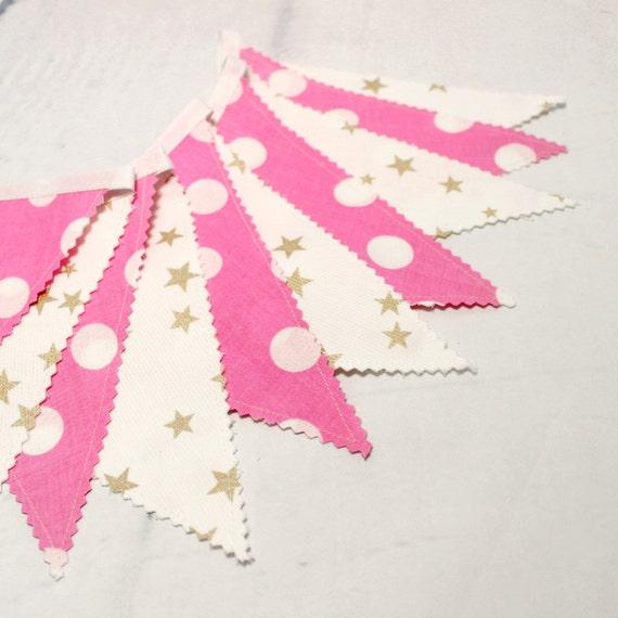 Guirlande fanions banderole tissu or rose deco par popelinedeco for Guirlande tissu chambre bebe