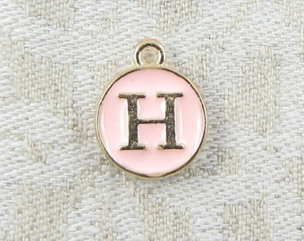 "Pink and Gold Enamel Letter ""H"" Charm 1 or 5 letters per package  ALF003h-P"