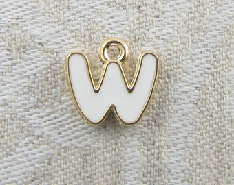 "White and Gold Enamel Letter ""W"" Charm, 1 or 5 letters per package  ALF026w-W"