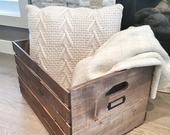 Rustic Wooden Crate, Rustic Home Decor, Blanket Crate, Wood Crate, Rustic Wedding Decor, Farmhouse Decor, Wooden Box, Rustic Nursery Decor