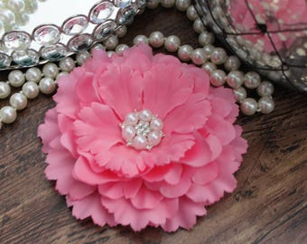 "4 1/2"" BRIGHT PINK Fabric Peony Flowers Layered with Crystal Pearl Center - Elegant - Beautiful - Hair Accessories - Wedding - TheFabFind"