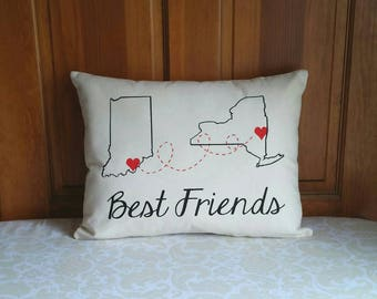 Best Friend Pillow | Long Distance Gift | State to State | Miles Apart But Close at Heart | Bridesmaid Gift | BFF Gift | Miss you gift