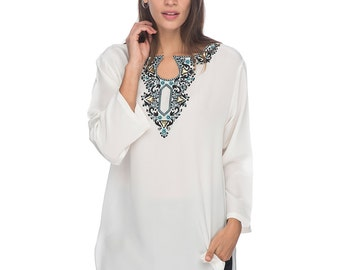 SCT002 - Hand embroidered silk tunic