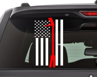 Thin Red Line with Halligan Bar Firefighter Flag Decal - American Flag Thin Red Line - Fire Department- Red Line- Serve- Car Decal