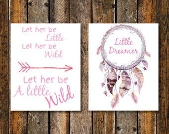 Nursery Wall Art, Boho Girl Nursery, Let Her Be A Little Wild Print, Let Her Be Little, Little Dreamer, Tribal Nursery Decor, Dreamcatcher