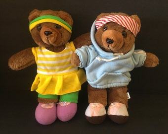 Vintage 1980's workout bears
