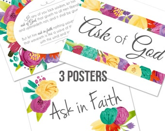 2017 Young Women LDS Ask of God Ask in Faith New Beginning Mutual Theme Printable Posters in 3 sizes