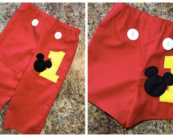Mickey Mouse Shorts or Pants - Birthday Number and Mickey Mouse Head