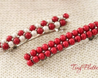 Hair Barrette - Red hair barrette - Christmas hair accessories - Christmas hair barrette - Adult hair barrette - Red Ivory - Hair barrette