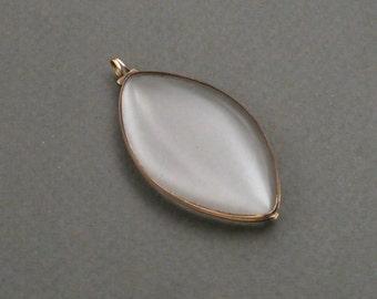 14K gold Georgian crystal Navette locket