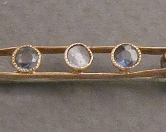 14K Blue Sapphires Brooch