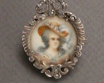 Silver and Pearls Miniature Hand Painted Portrait Brooch