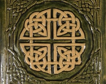 "Ceramic Celtic knot 7.5""x7.5""Tile in moss green"