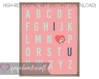 Alphabets sign, i love you sign, wall art, nursery print, digital art, wall decor, coral, mint, navy, pink