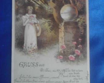 Vintage German 1899 Postcard, Greeting From, Used, Franking Post Mark Innichen